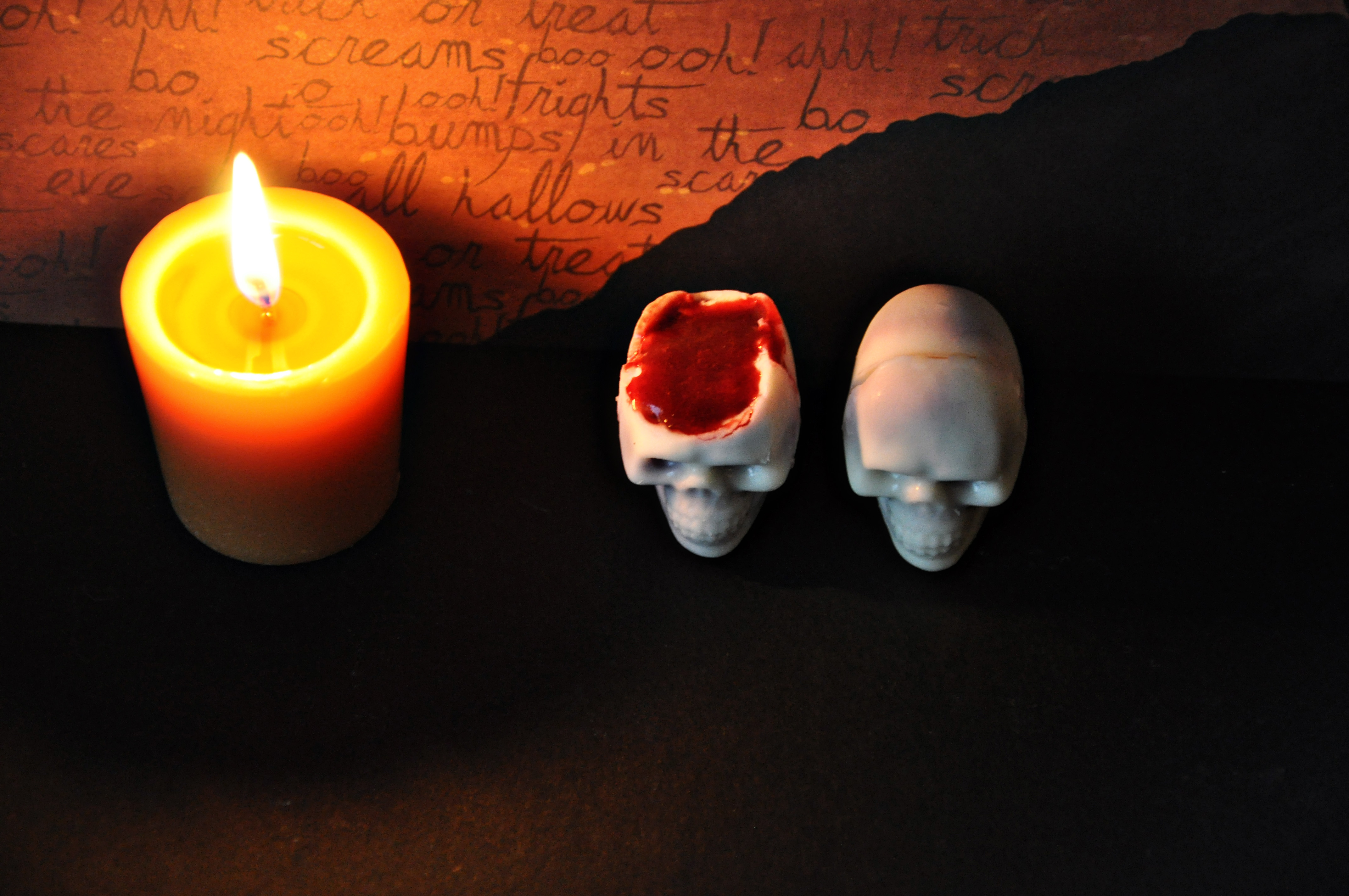 White Chocolate Skulls with Mixed Berry Coulis