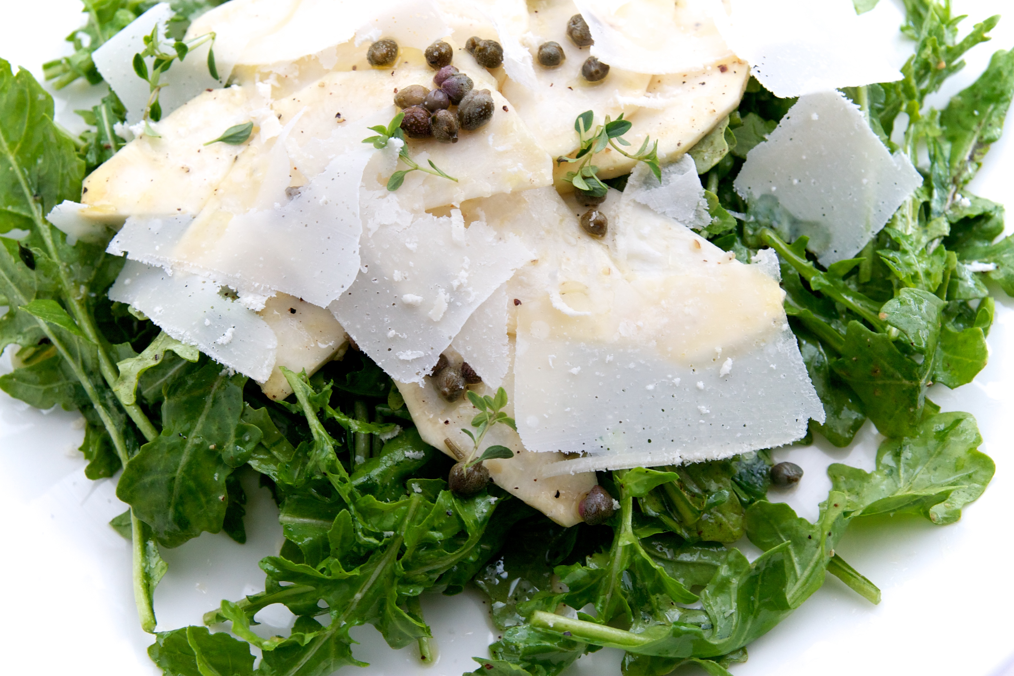 Celery Root & Rocket Salad with Lemon, Capers & Parmesan