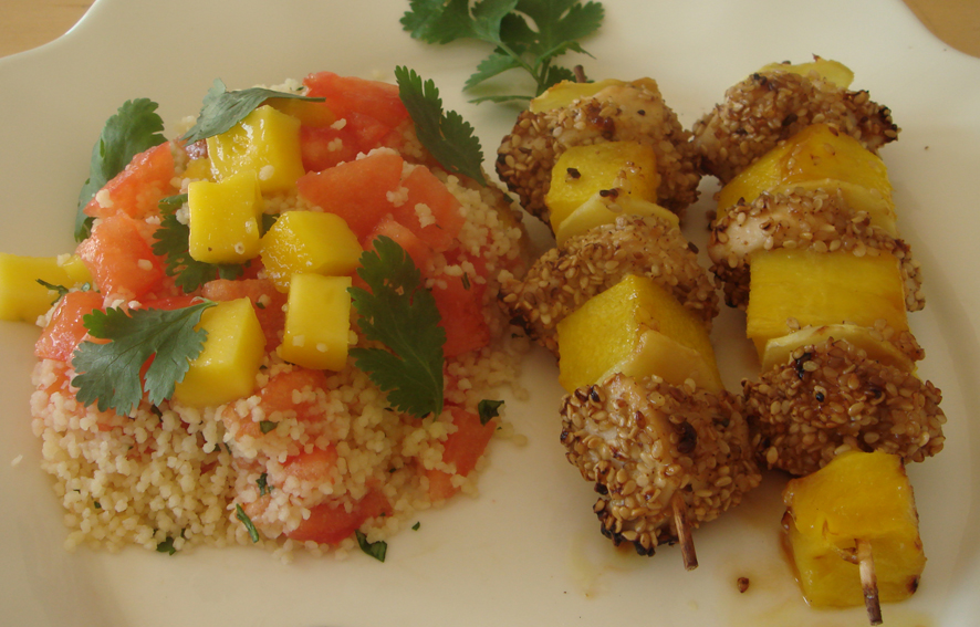 Honey and Mustard Chicken with Mango and Ginger Skewers Recipe on ...