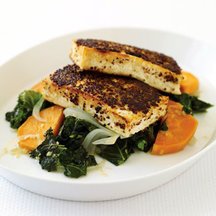 Mustard-Crusted Tofu with Kale and Sweet Potato