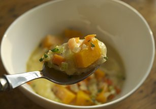 Buttercup_squash_ragu_with_bacon_polenta