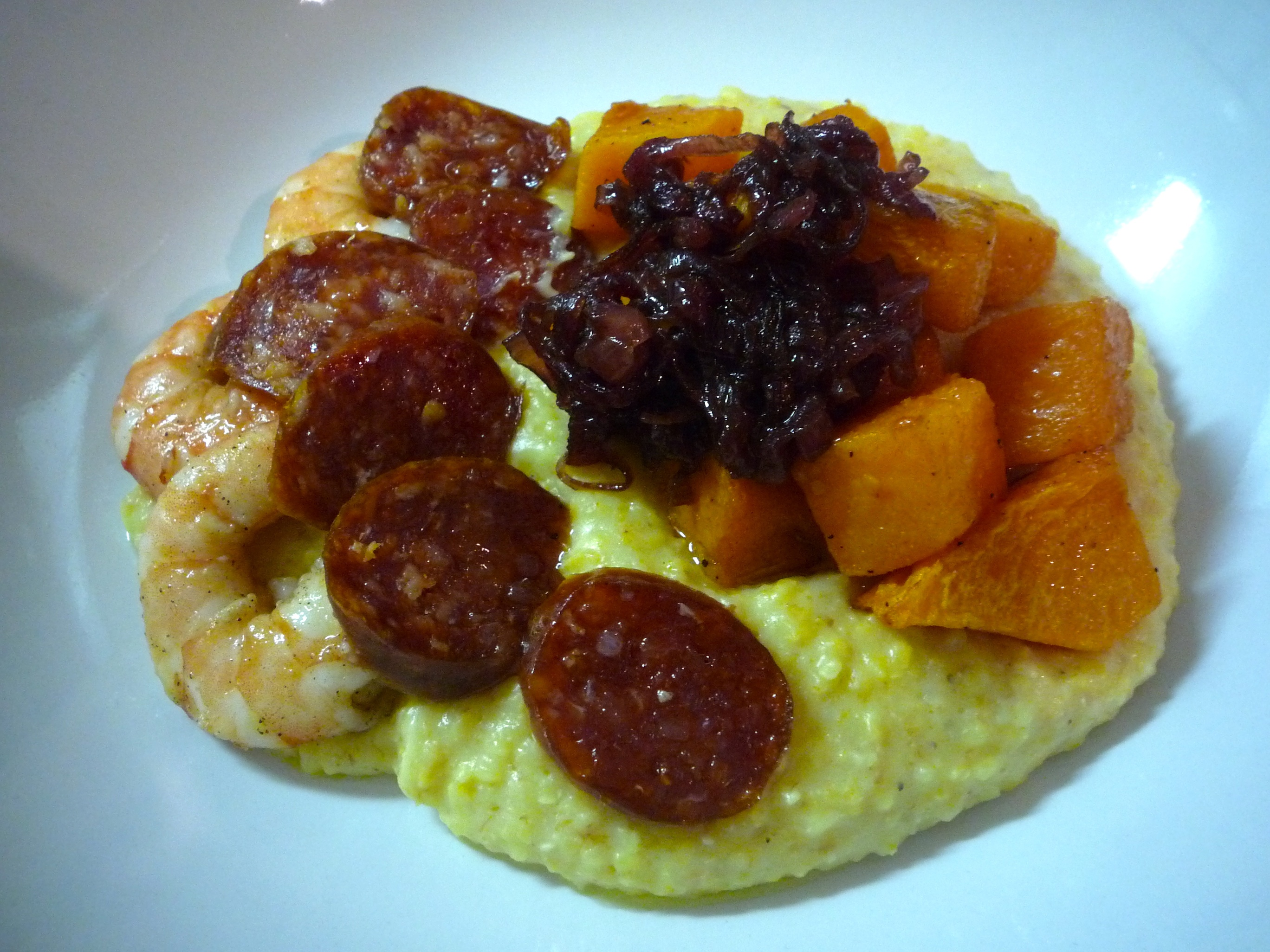 Spiced butternut squash with polenta, shrimp & chorizo