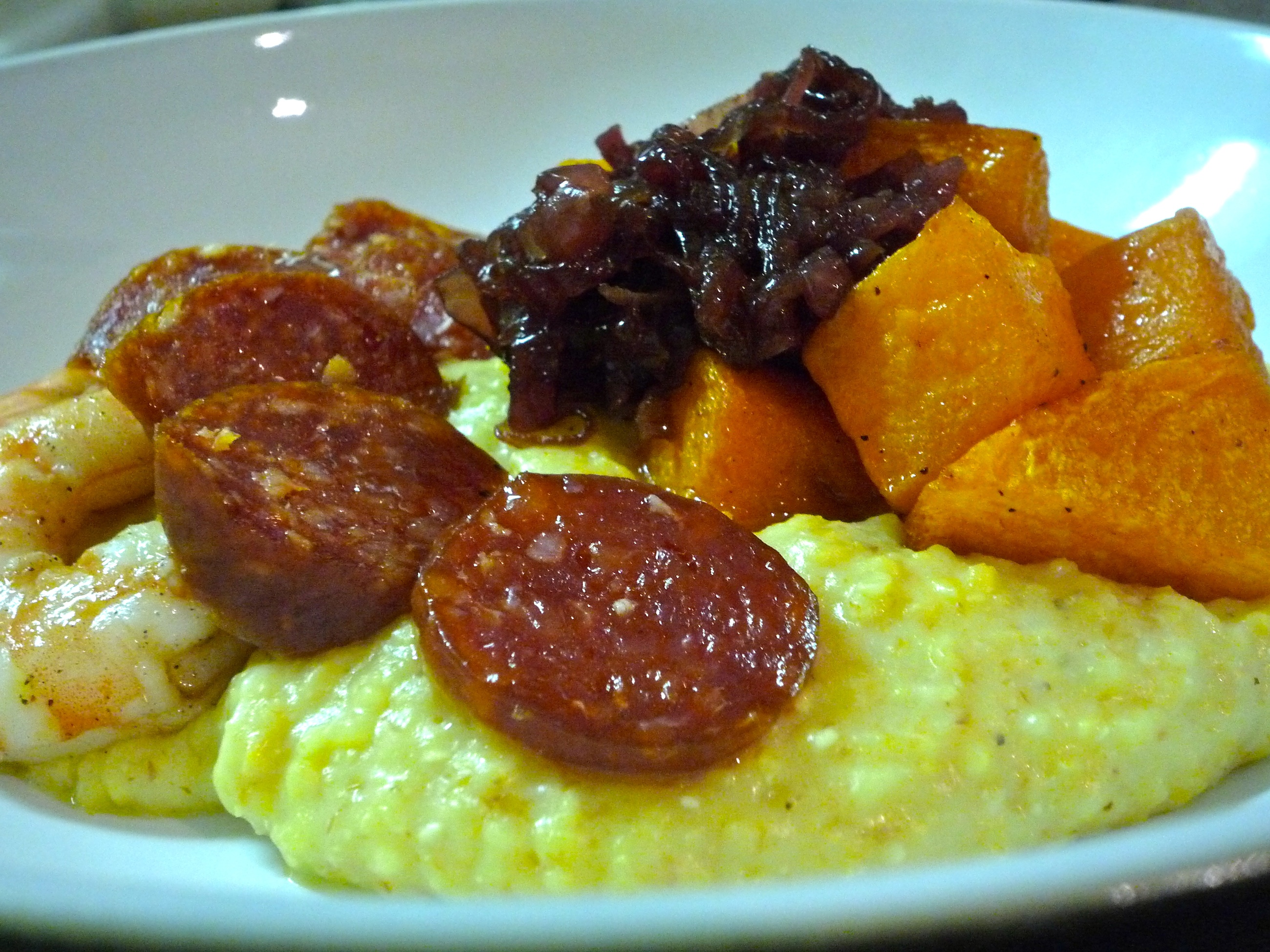 Spiced butternut squash with polenta, shrimp &amp; chorizo 