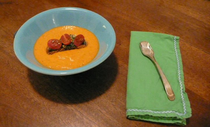 Cherry Tomato &amp; Basil Croutons atop Creamy Heirloom Tomato Soup