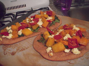 Roasted butternut squash and fresh ricotta flatbread