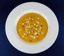 Butternut-Apple Soup with Maple Cream