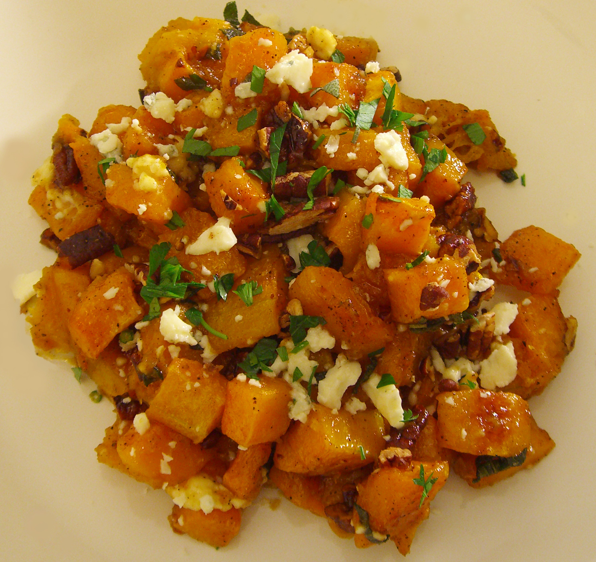 Maple & Browned Butter Squash with Pecans and Blue Cheese Recipe on ...