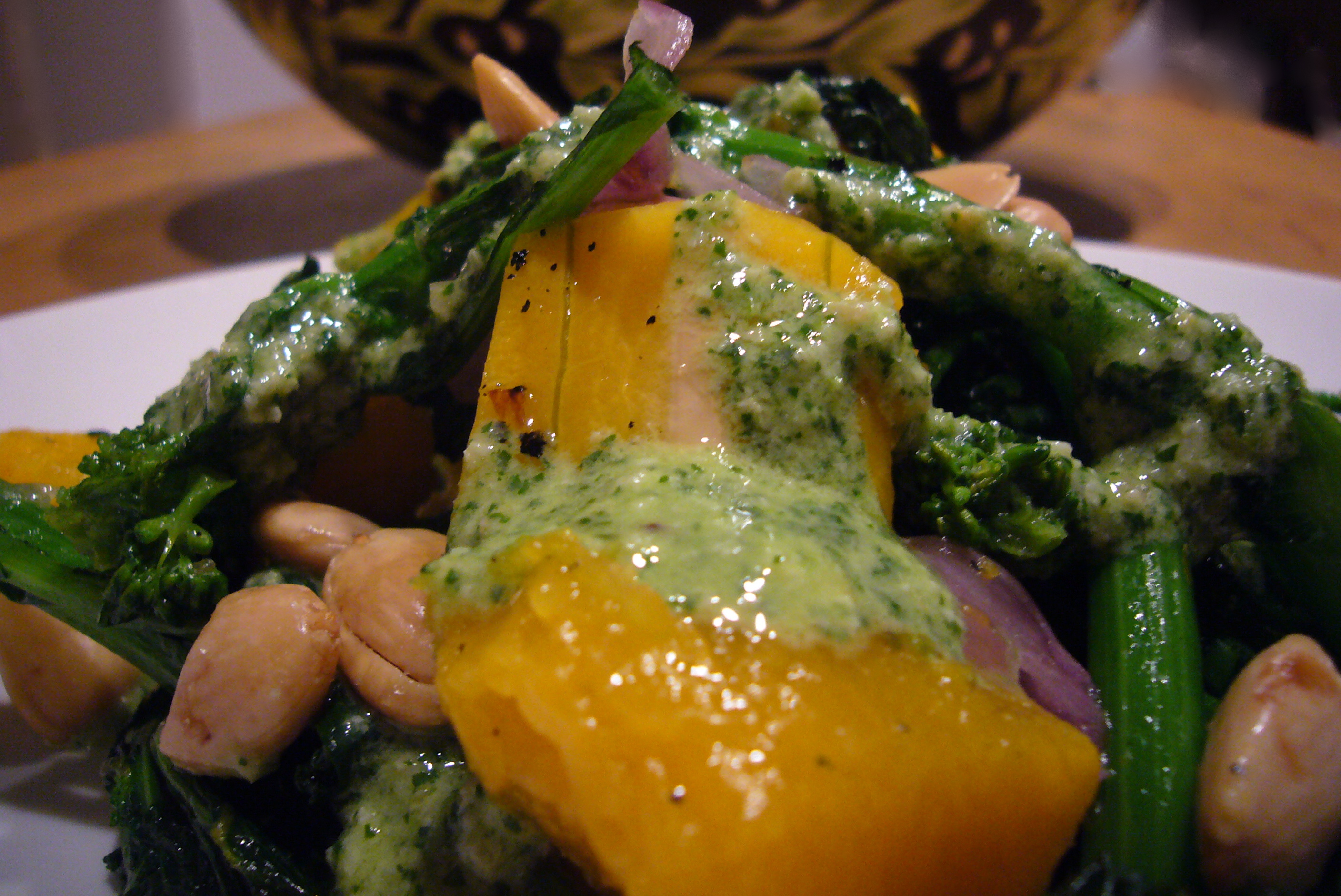 Roasted Butternut Squash and Rapini Sauté with Creamy Pumpkin Seed and Cilantro Dressing