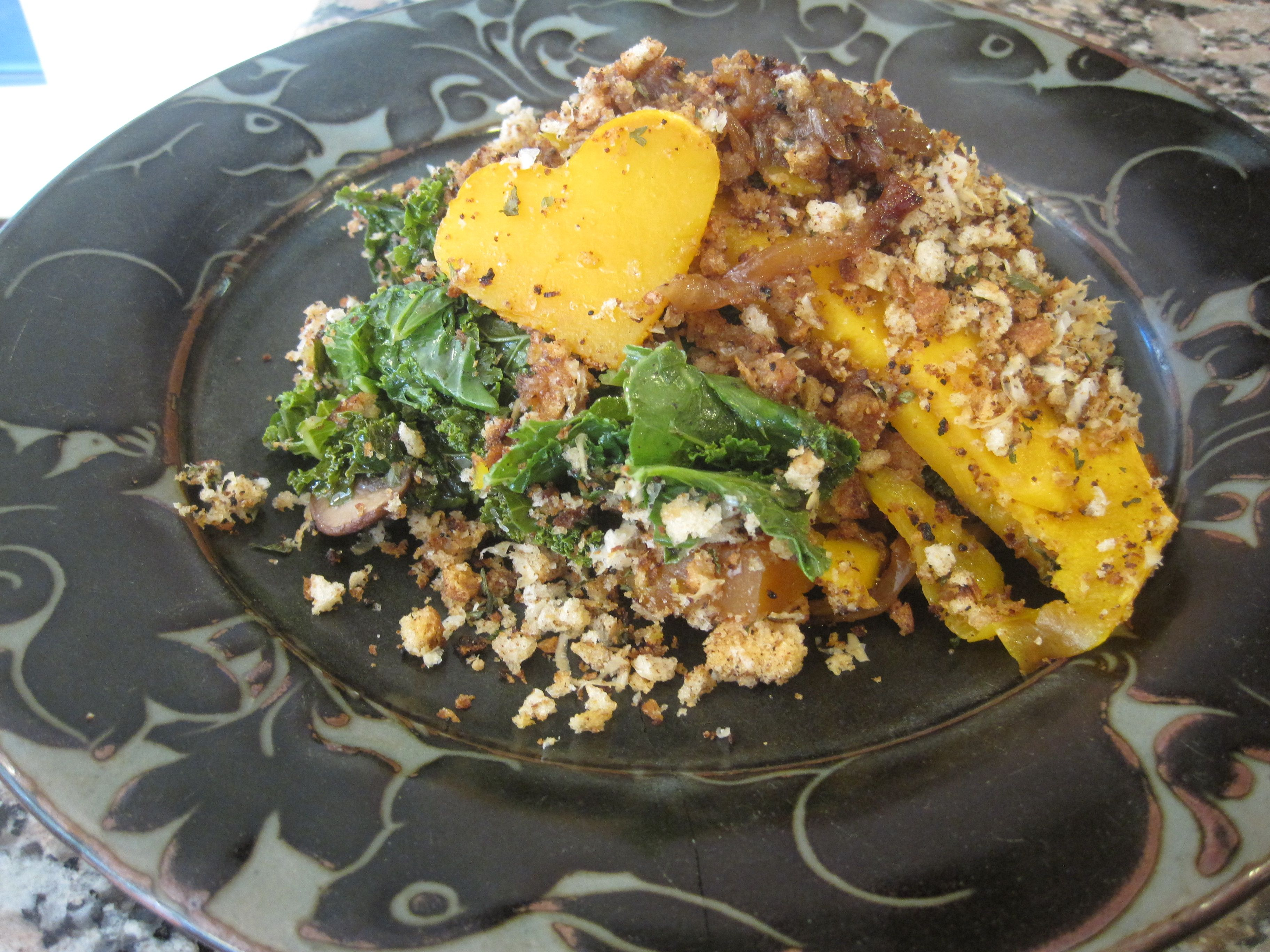 Butternut Squash Tian with Spinach and Mushrooms