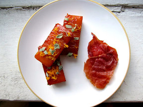 Butternut Bricks with Ginger Maple Bourbon Glaze and Prosciutto Chips
