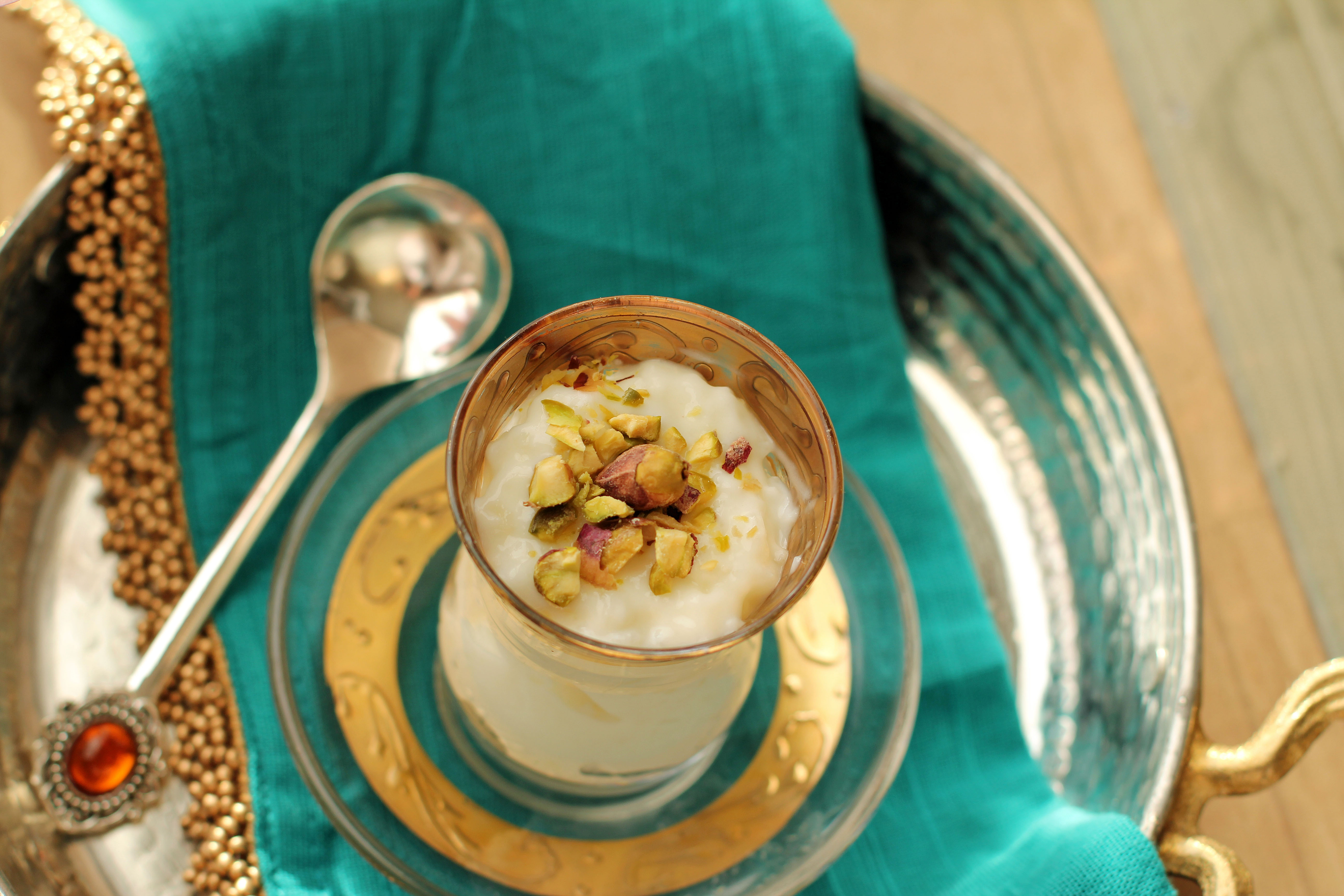 Creamy Rice Pudding infused with Orange Blossom Water &amp; Cardamom