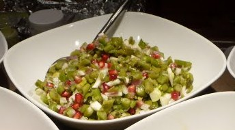 Green bean salad with pomegranate seeds and fennel