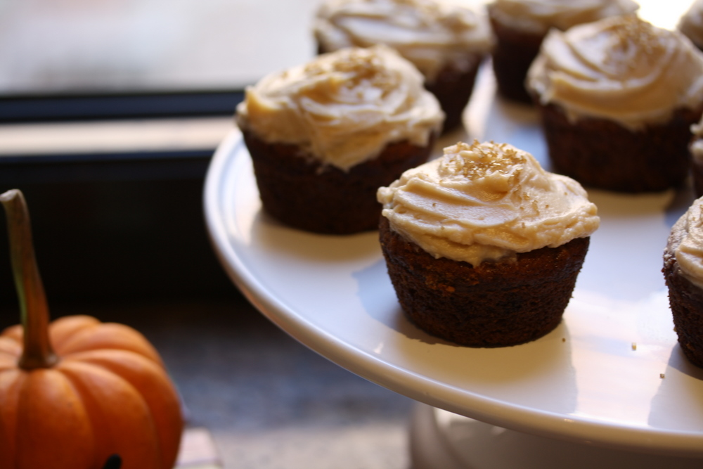 Pumpkin Cupcakes with Chai Cream Cheese Frosting