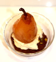 Pacherenc-Poached Winter Pears with Dark Chocolate &amp; Salted Pistachio Cookies 