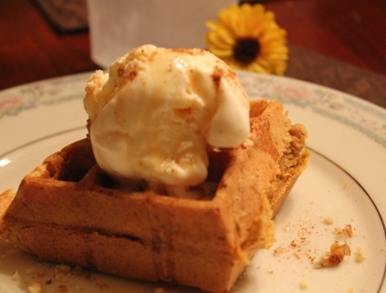 Pumpkin Walnut Belgian Waffles