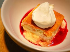 Cointreau Pudding Cake with Cranberry Syrup