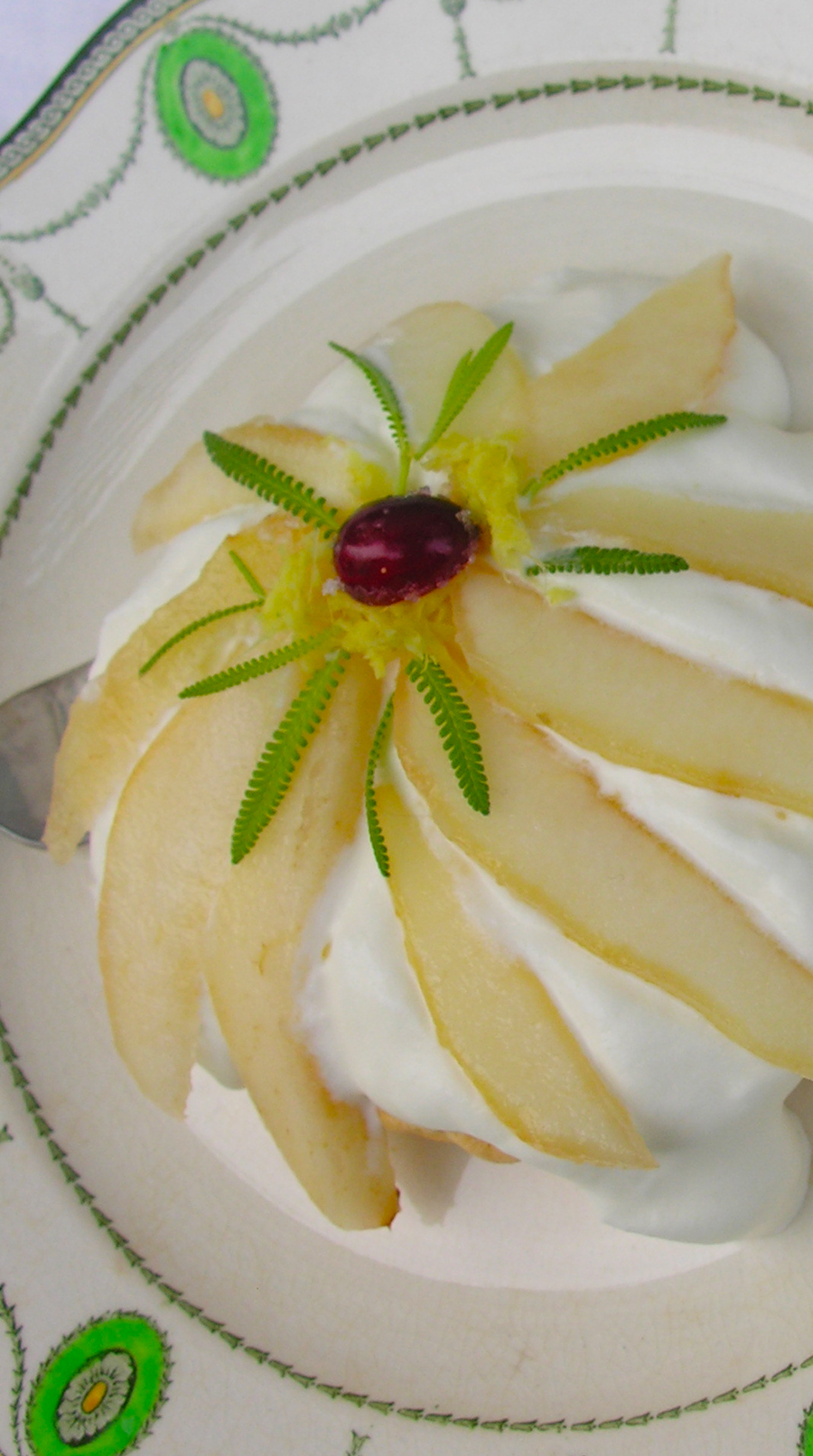 Pear pavlova with undertones of lavender and ginger