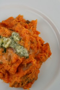 Mashed Sweet Potatoes with Rosemary Butter
