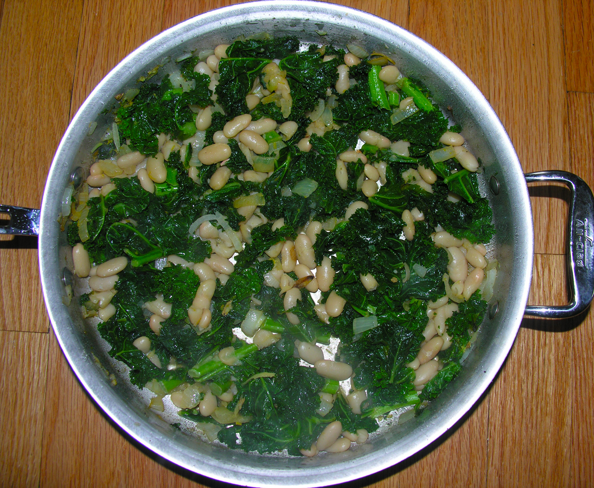 Braised kale with orange tamari cannellini