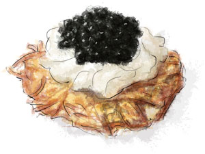 Mini Potato Rosti with Caviar and Sour Cream