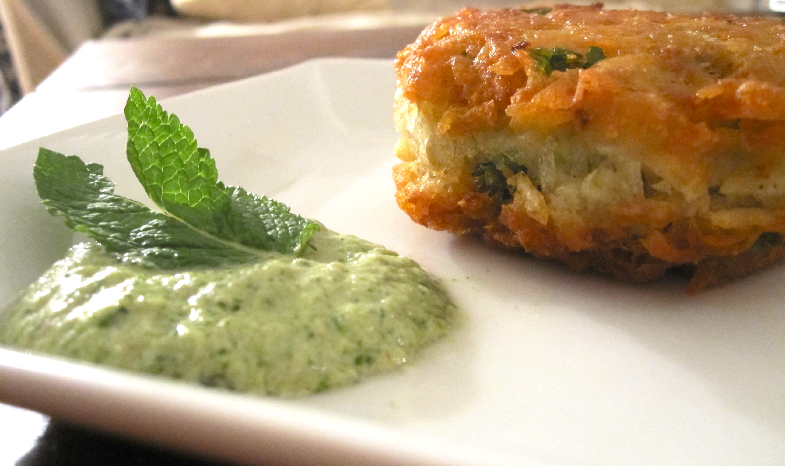 Indian Spiced Potato Pancake with Mint & Yogurt Chutney