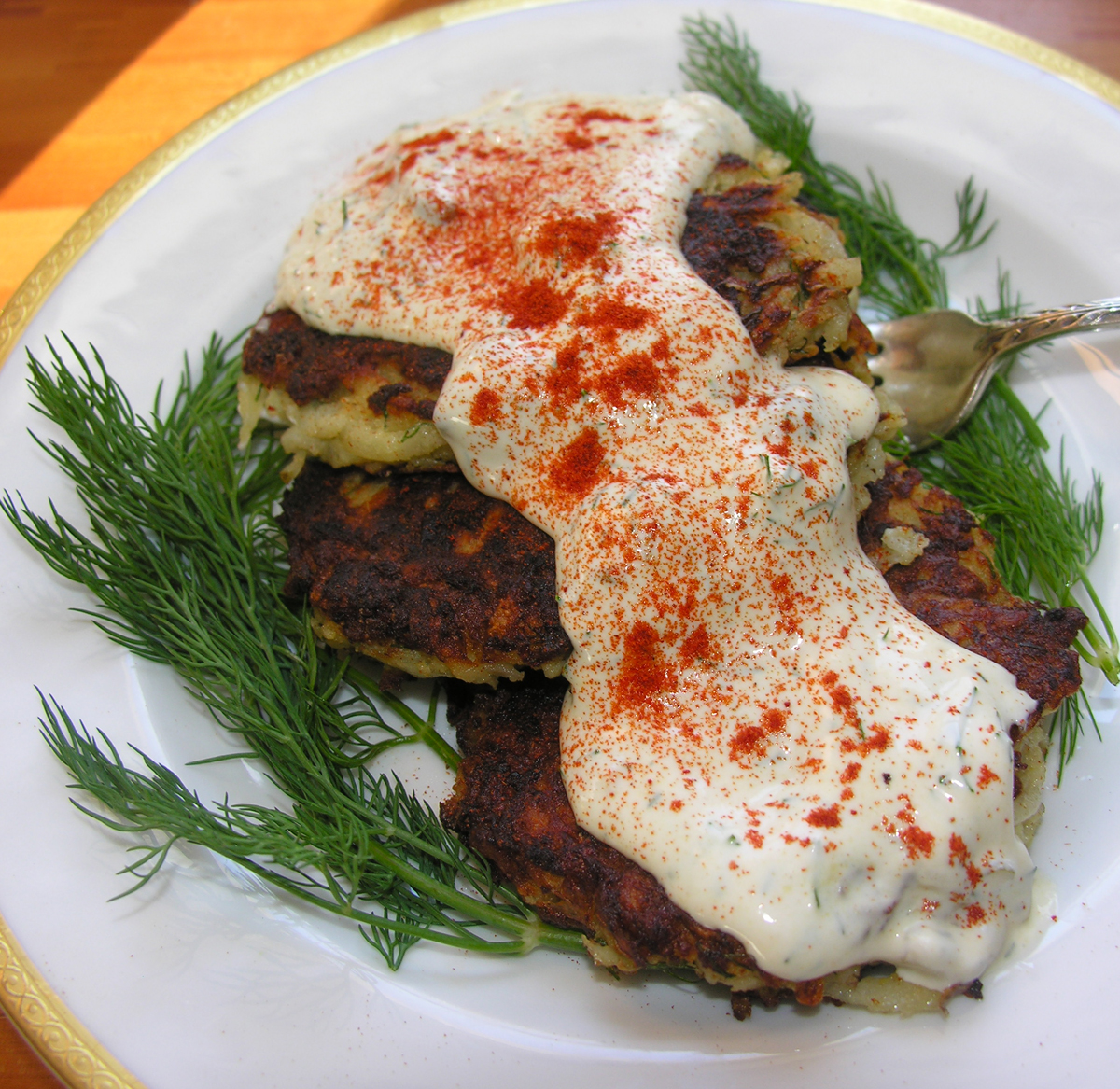 Latkes with salmon and dill rmoulade