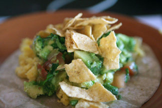 Taco-Style Scrambled Eggs with Guacamole and Corn Chips