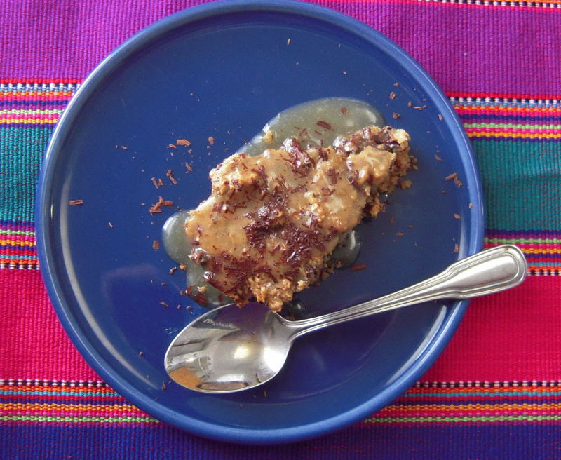 Dark Chocolate Peanut Butter Baked Oatmeal with Salted Caramel Sauce