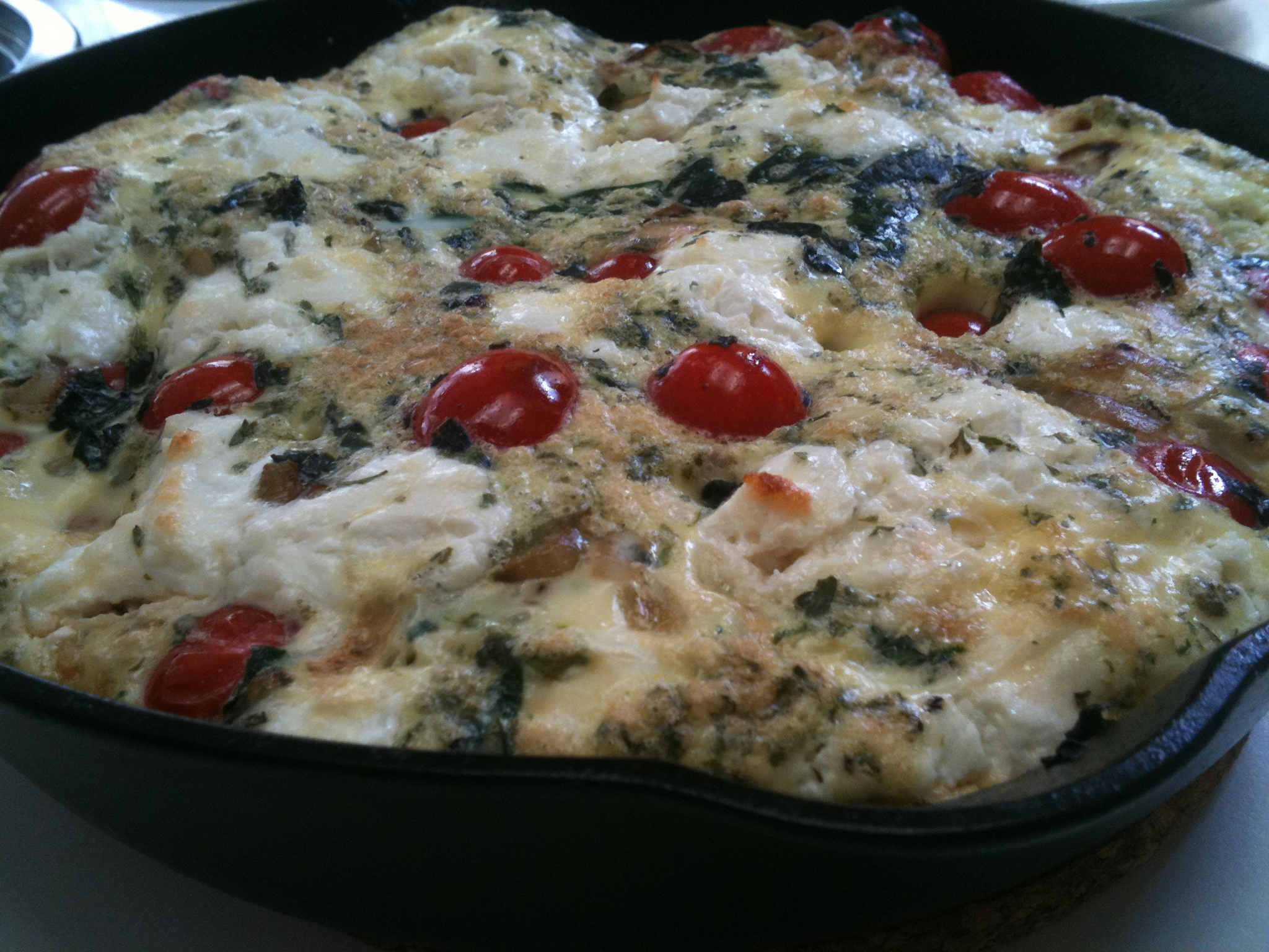 Iron Skillet Frittata w/ Caramelized Shallots, Spinach, Grape Tomatoes, &amp; Goat Cheese