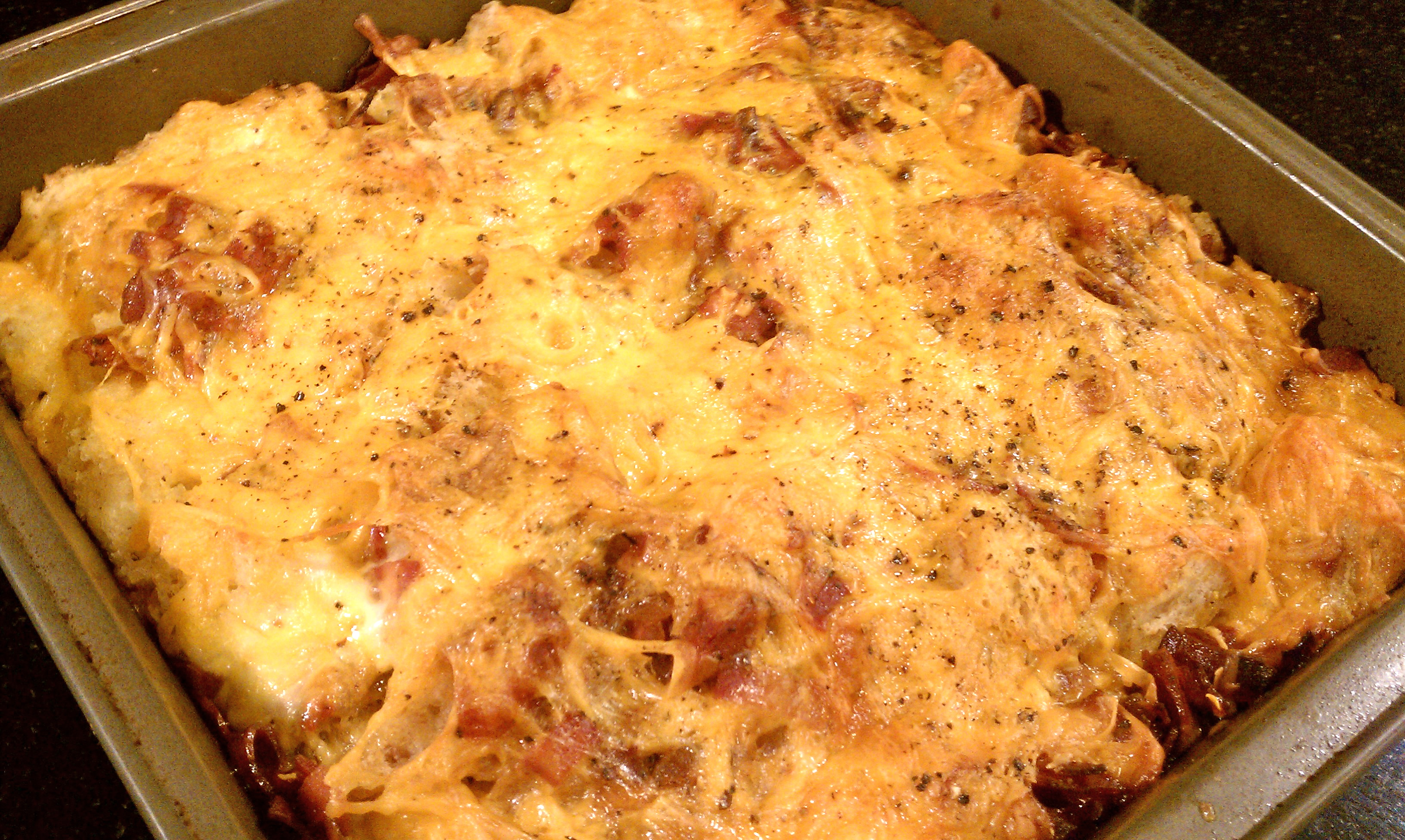 Bacon, Cheddar, Spinach and Tomato Strata