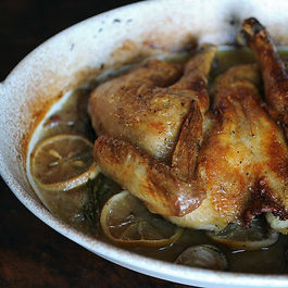 Spatchcocked and Braise-Roasted Chicken