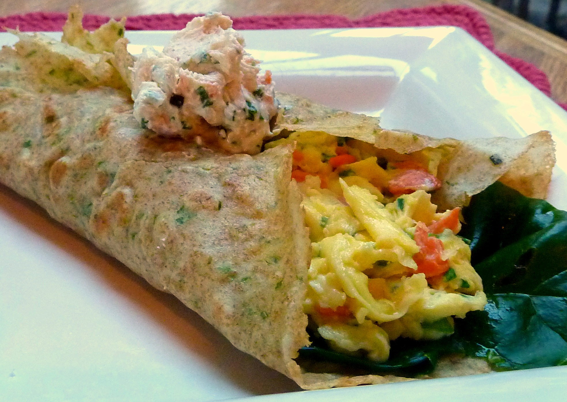 Smoked Salmon and Cream Cheese Scramble Tucked in an Herb Crepe ...