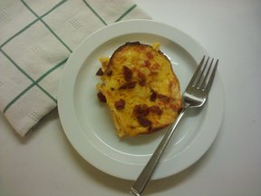 Bacon and Egg Strata with Ketchup