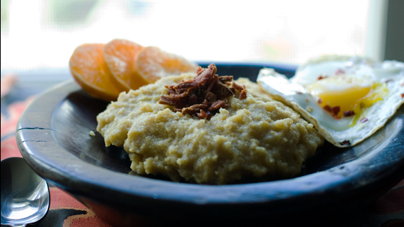 Maple Cinnamon Polenta w/ Crumbled Bacon & Red Pepper Eggs