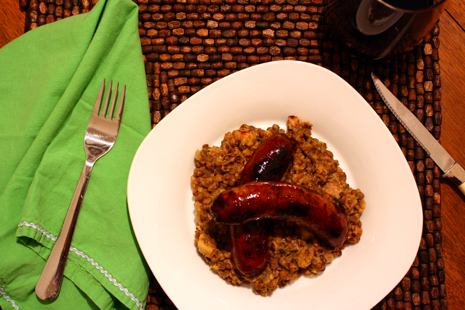 Sausage Over Creamy Lentils