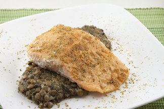 Spiced Salmon over Coconut Lentils