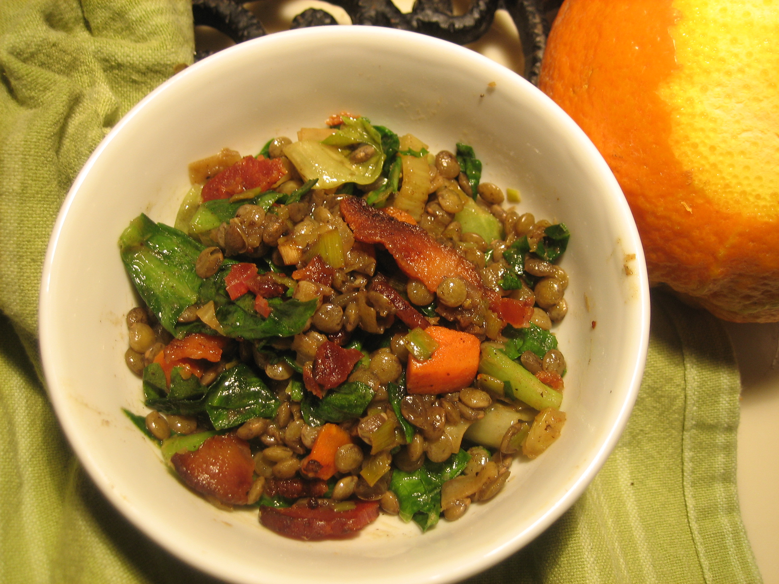 Orange-Scented Lentil Salad with Wilted Escarole