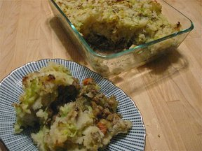Lentil shepherds pie with colcannon topping