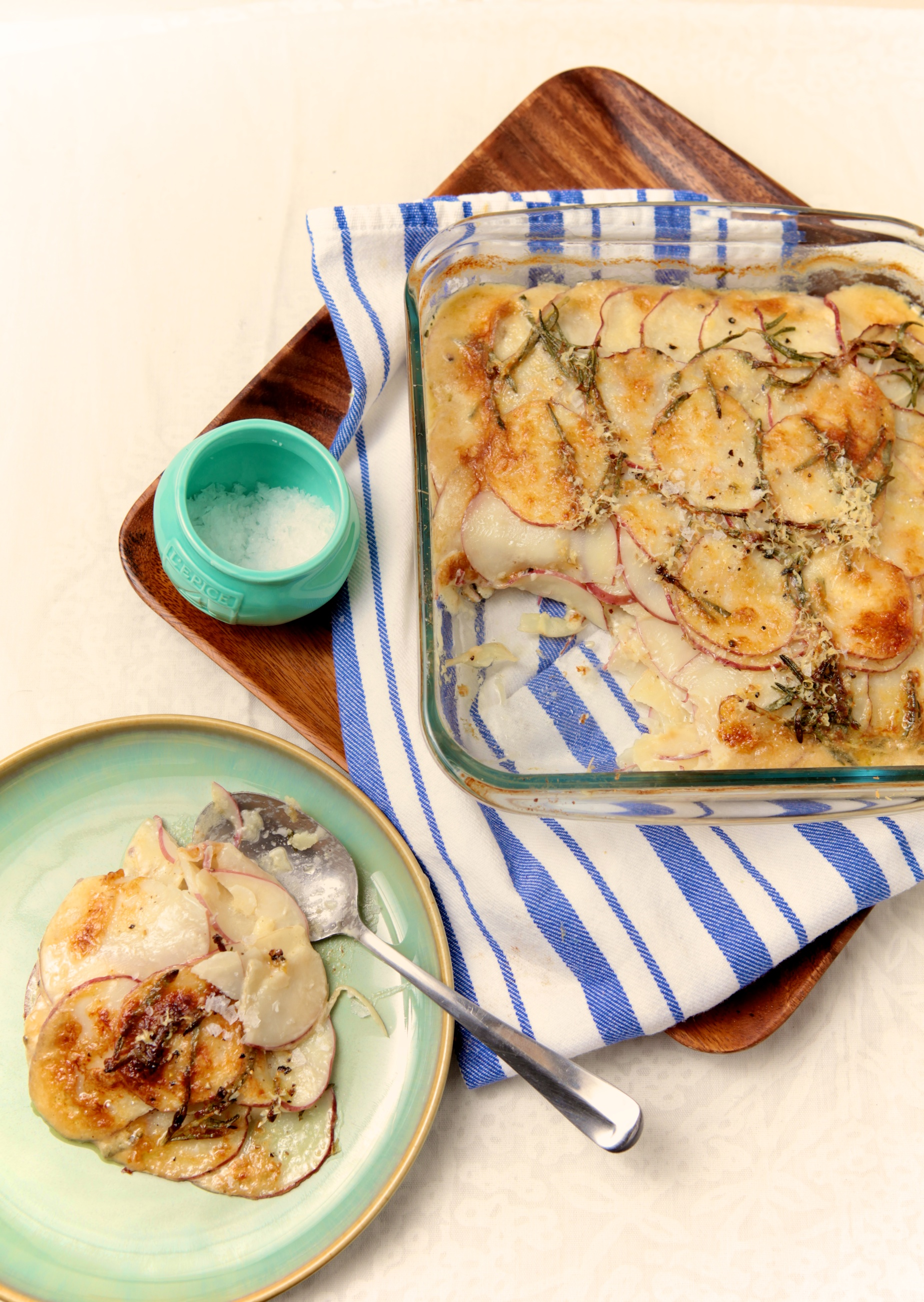 Potato Parsnip Gratin with Gruyere & Rosemary