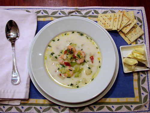 Maine Shrimp Chowder with Crispy Pancetta and Chives