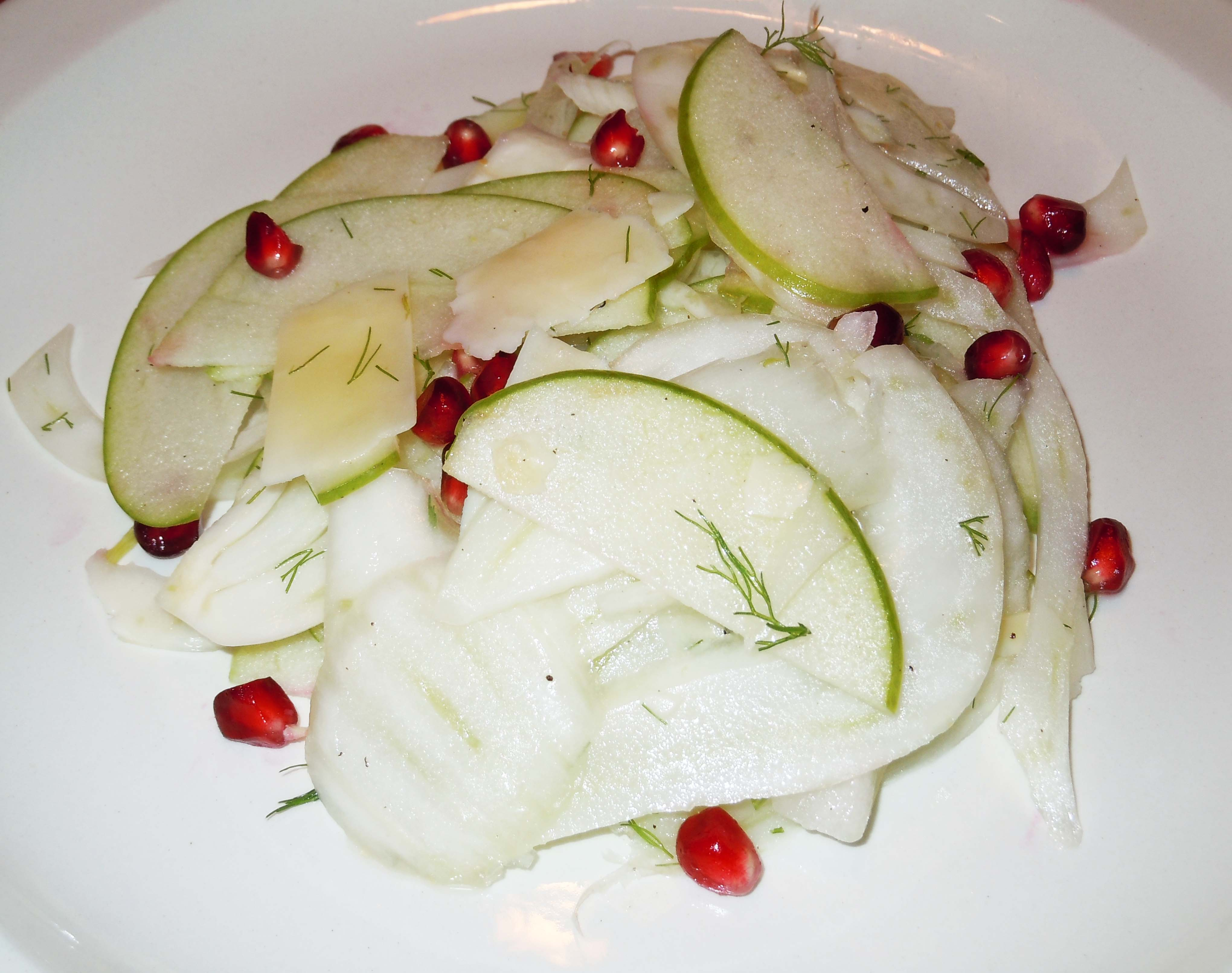 Salty Sweet Apple Fennel Salad with Pomegranate Seeds
