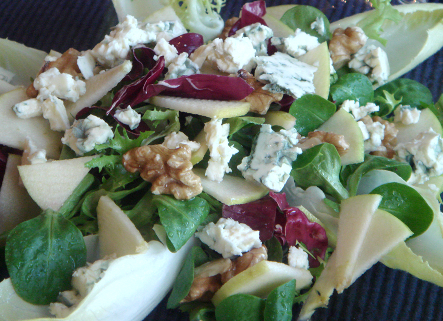 French Apple Chicory Blue Cheese and Walnut Salad