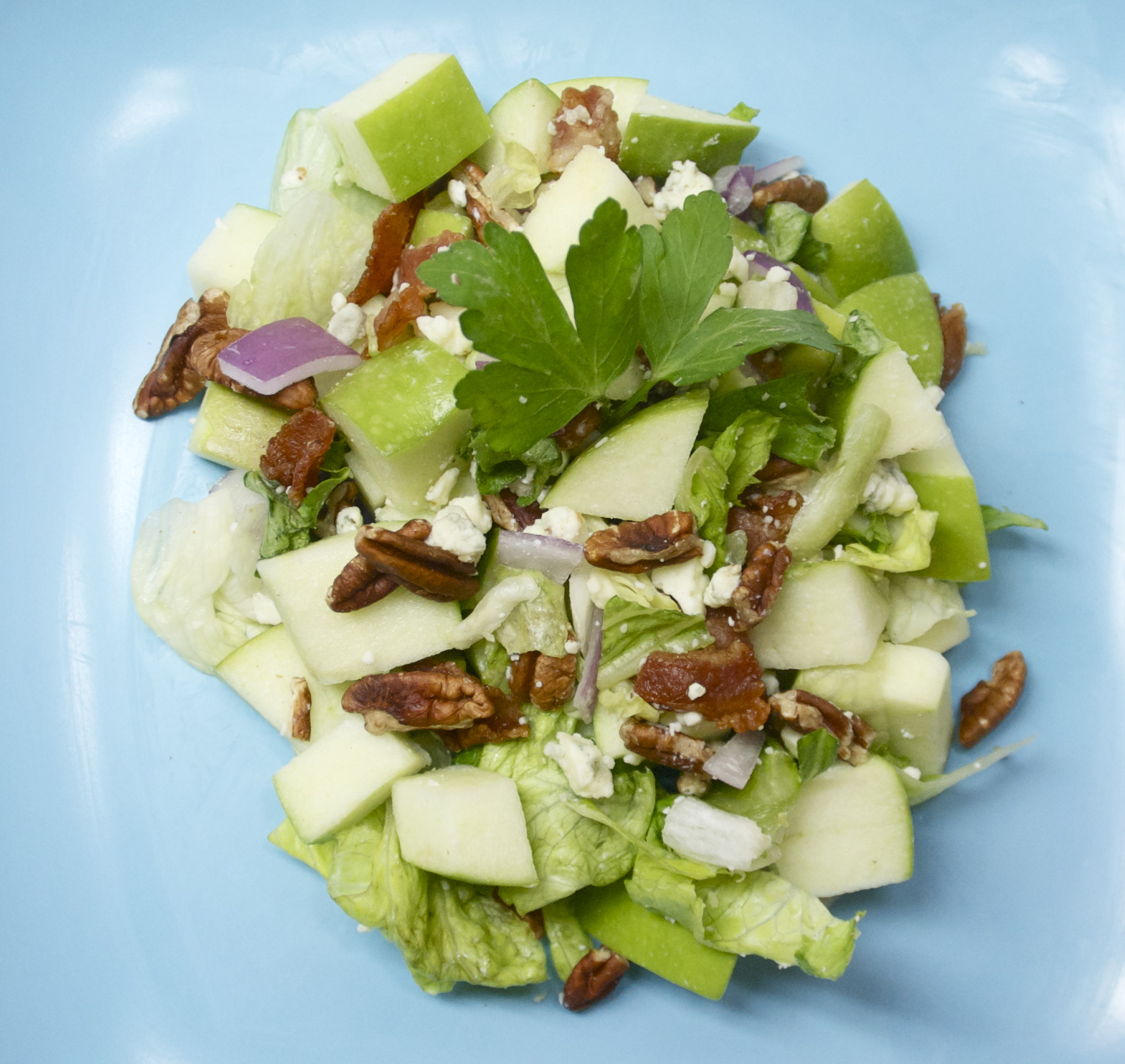 Chopped Apple &amp; Blue Cheese Salad with Warm Bacon Vinaigrette