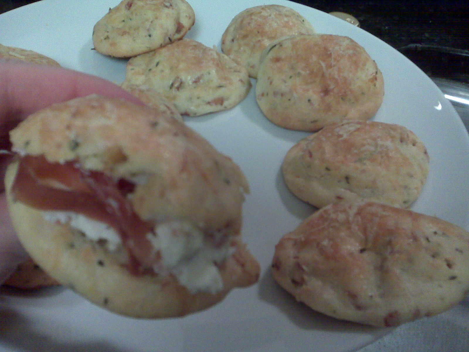 Parmesan and Prosciutto Profiteroles with Goat Cheese