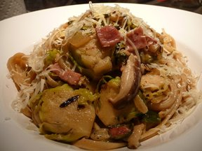 Brussel Sprout Pasta with Shiitake and Pancetta