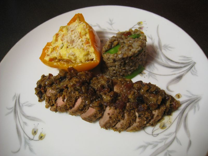 Andouille Crusted Duck, with Ricotta Stuffed Sweet Pepper, and Spicy Kasha with Sweet Snow Peas