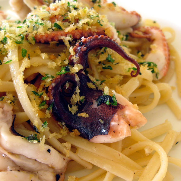Linguini with Grilled Baby Octopus and Herbed Bread Crumbs