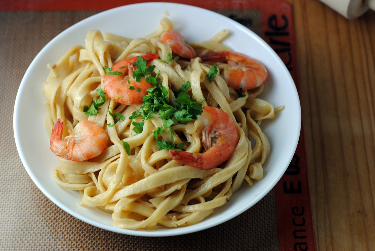 Tagliatelle with Shrimp and Champagne Butter Sauce