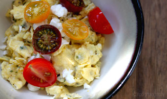 Eggs with Chervil, Feta & Heirloom Tomatoes