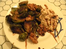 Brussel Sprouts Roasted with Vanilla Bean Paste, Toasted Walnuts and Balsamic Whipping Cream